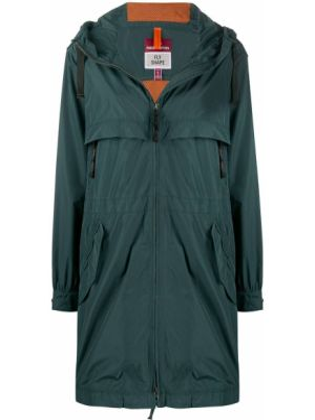 Пальто с капюшоном длинное зеленое Parajumpers