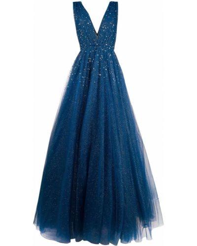Niebieska sukienka tiulowa bez rękawów Jenny Packham
