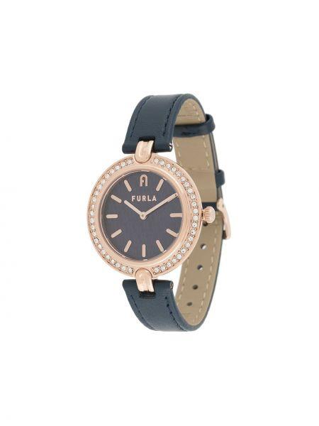 Skórzany z paskiem czarny zegarek na skórzanym pasku okrągły Furla