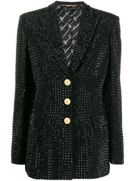 Черный приталенный пиджак с воротником Versace