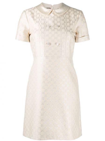 Prosto jedwab sukienka mini z kołnierzem z haftem Gucci