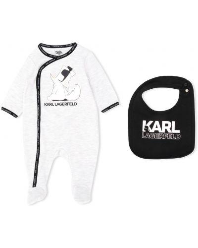 С рукавами хлопковое серое боди с длинными рукавами с вырезом Karl Lagerfeld Kids