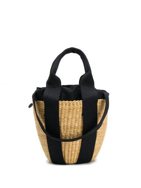 Хлопковая соломенная сумка через плечо с перьями Muun