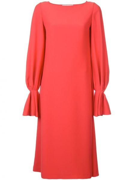 Красное платье миди с длинными рукавами свободного кроя с вырезом Carolina Herrera