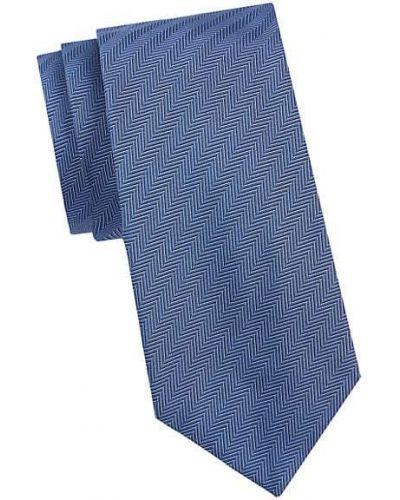 Niebieski krawat z jedwabiu z printem Armani Collezioni
