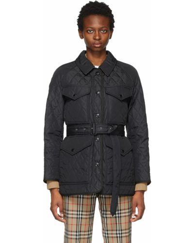 Черная куртка длинная Burberry