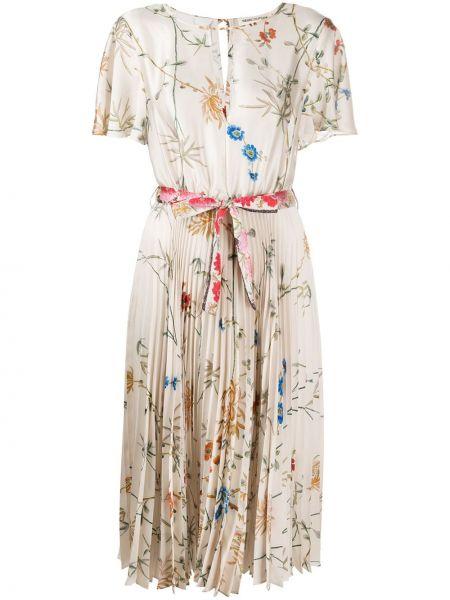 Платье с цветочным принтом плиссированное Semicouture