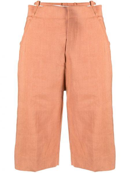 Льняные с завышенной талией короткие шорты с карманами Jacquemus