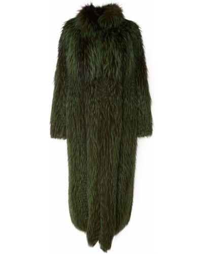 Зеленая длинная шуба из чернобурки Izeta