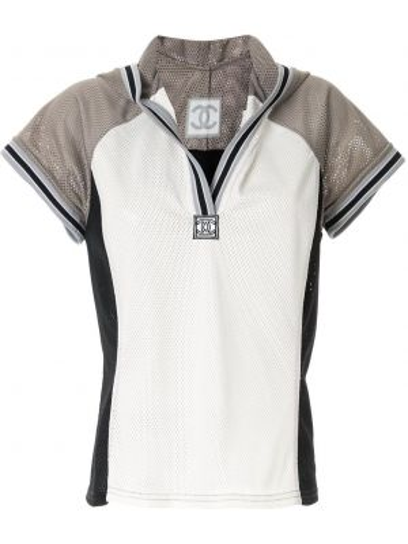 Серый топ с капюшоном винтажный с короткими рукавами Chanel Pre-owned