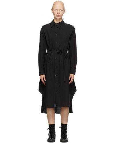 Черное платье макси с длинными рукавами с поясом с воротником Regulation Yohji Yamamoto
