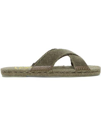 Sandały skórzane - żółte Castaner