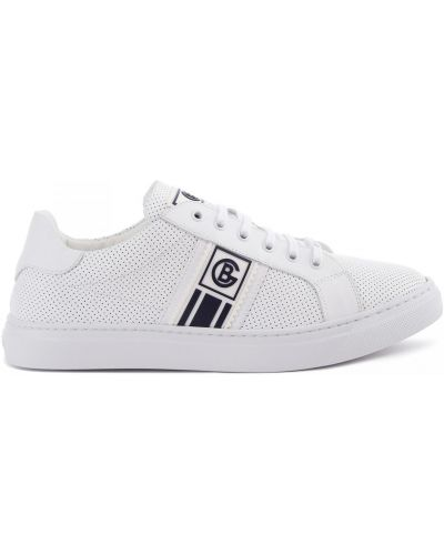 Кожаные белые кеды на шнуровке Baldinini
