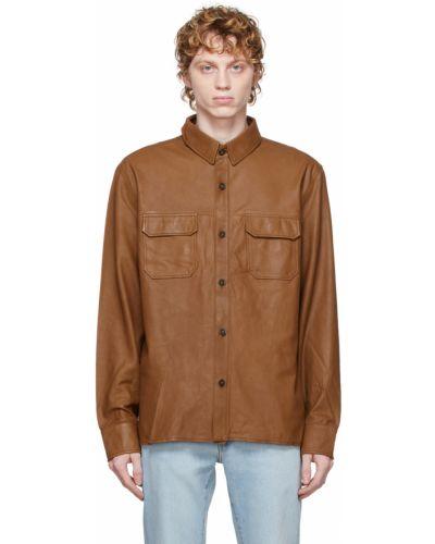 Черная кожаная куртка из верблюжьей шерсти Officine Generale