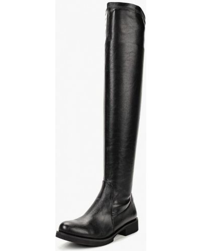 Ботфорты на каблуке кожаные черные Teetspace