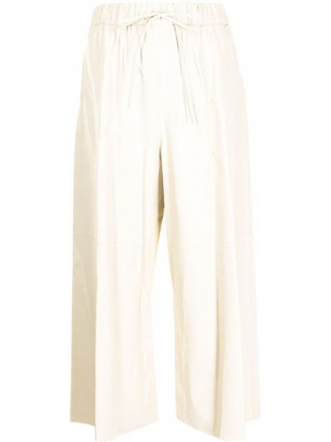С завышенной талией кожаные белые брюки Yves Salomon