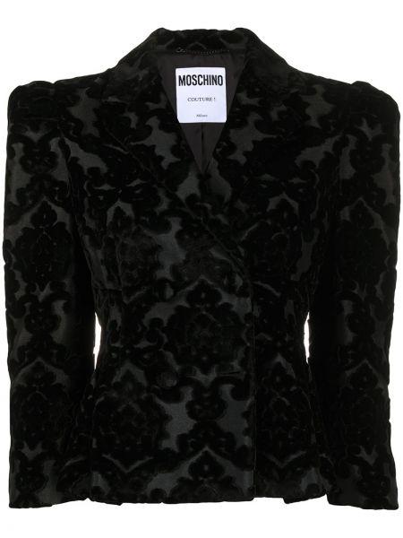 Черный удлиненный пиджак на пуговицах жаккардовый Moschino