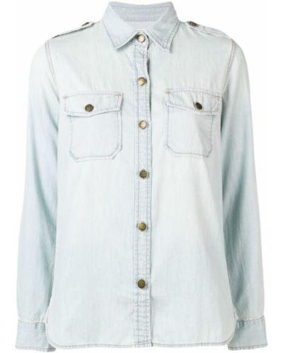 Рубашка с длинным рукавом с карманами синяя Current/elliott