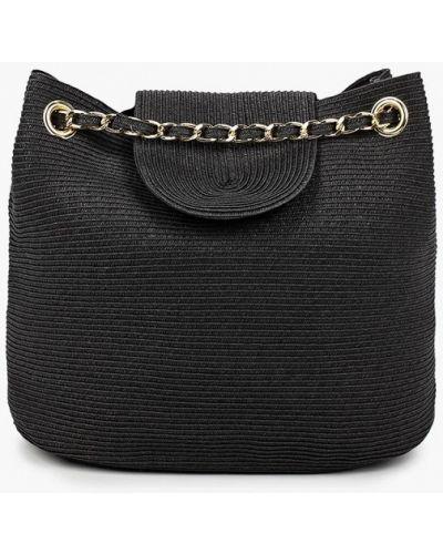 Соломенная сумка - черная Fabretti
