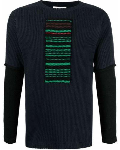 Niebieski top w paski bawełniany Jil Sander