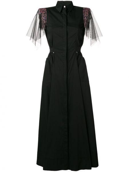Приталенное классическое платье мини из фатина с драпировкой Talbot Runhof