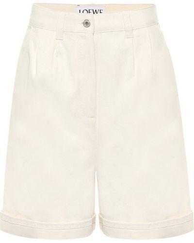 Ватные хлопковые белые шорты Loewe