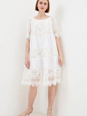 Белое кружевное кожаное ажурное платье Baon