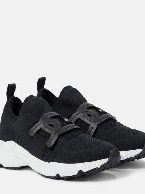 Czarne sneakersy do biegania skorzane do biegania Tod's