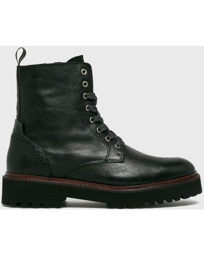 Кожаные сапоги на шнуровке черные Marc O'polo