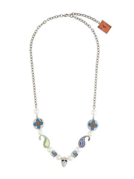 Серебряное ожерелье с жемчугом металлическое *evae+