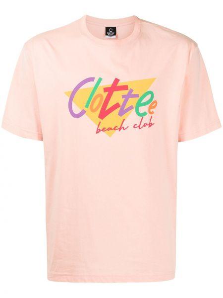 Różowa t-shirt bawełniana krótki rękaw Clot