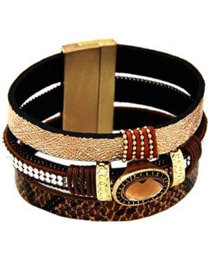 Кожаный браслет с камнями бежевый Evora