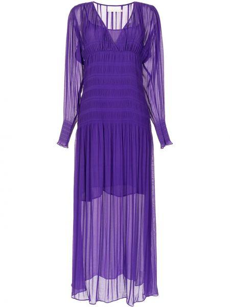 Фиолетовое прямое с рукавами платье макси Ginger & Smart