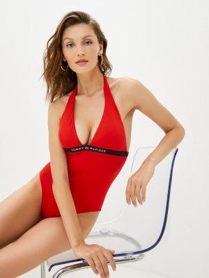 Красный слитный купальник Tommy Hilfiger