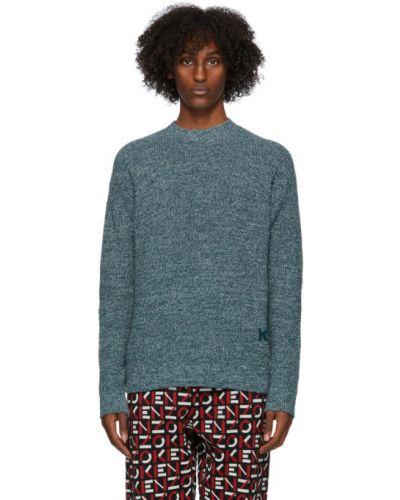 Niebieski sweter z kołnierzem z aplikacjami boucle Kenzo