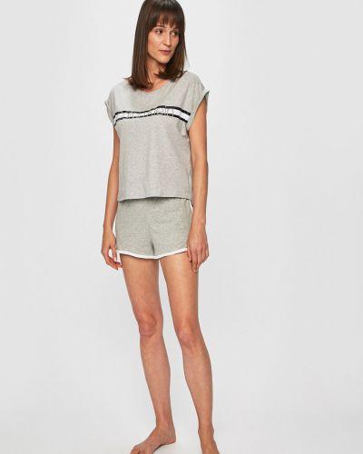 Piżamy z szortami długo szary Calvin Klein Underwear