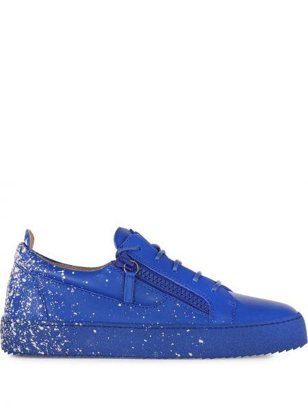 Koronkowa niebieski skórzany sneakersy Giuseppe Zanotti