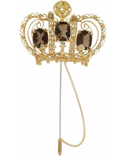 Золотистая брошь золотая с бриллиантом Dolce & Gabbana