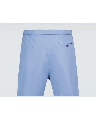 Niebieskie krótkie szorty z siateczką zapinane na guziki Frescobol Carioca