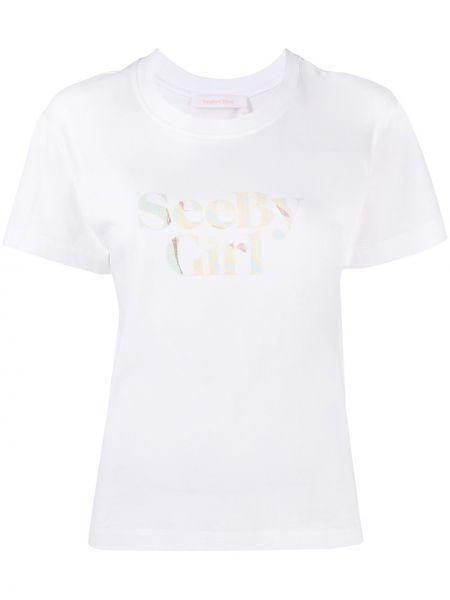 С рукавами белая футболка с надписью See By Chloé