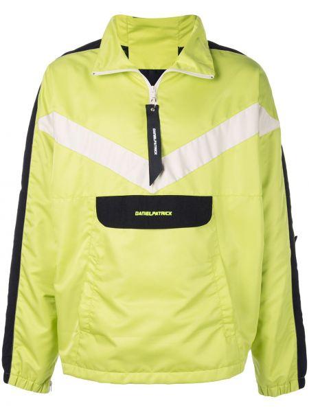 Zielona długa kurtka z haftem z długimi rękawami Daniel Patrick