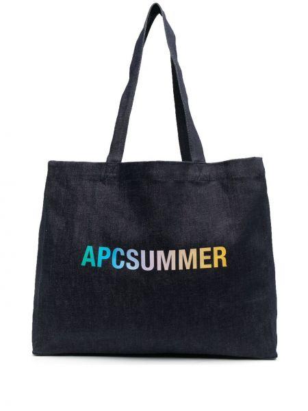 Хлопковая синяя сумка шоппер с карманами A.p.c.