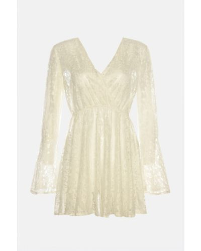 Biała sukienka koronkowa sznurowana Trendyol