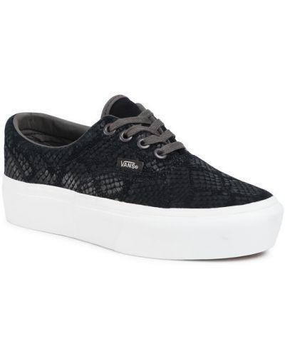 Czarny sneakersy na platformie Vans