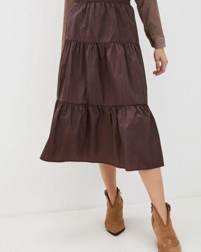 Коричневая юбка свободного кроя Sela