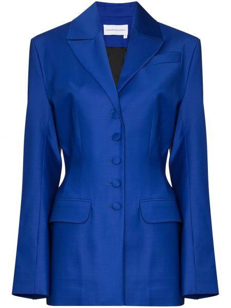 Шерстяной синий приталенный пиджак Aleksandre Akhalkatsishvili