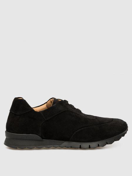 Замшевые кроссовки - черные Kiton