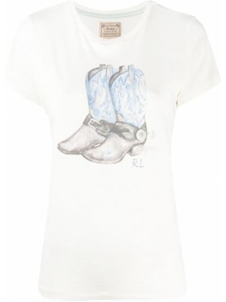 Biały t-shirt bawełniany z printem Polo Ralph Lauren