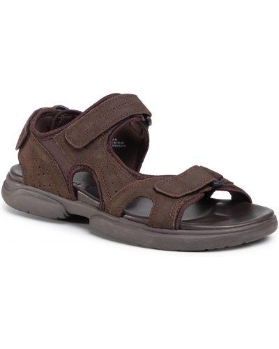 Brązowy skórzany sandały z wkładkami Lasocki For Men