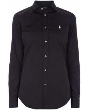 Czarna bluzka z długimi rękawami z haftem Polo Ralph Lauren